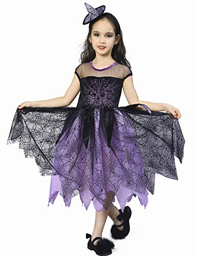 IKALI Disfraz Bruja Niña Halloween, Araña Esqueleto Vestido de Carnival 4-6años