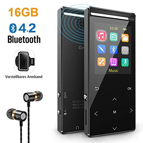 MP3 Player, 16GB Mp3 Player mit Bluetooth, Sports Armband, FM, FM-Recorder, Line-In Recorder, HiFi, Schrittzähler, Zufallswiedergabe, Sleep-Timer, Metallgehäuse und Weihnachten Stil Verpackung