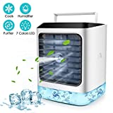 Personal Air Cooler, 4 in 1 Air Space Conditioner, Mini USB Fan Evaporative Humidifier Purifier with 7 Colors LED, Portable Desk Cooling Fan for Home Room Office Outdoor