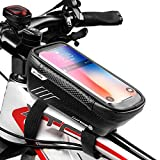 """WILD MAN Bike Phone Mount Bag, Cycling Waterproof Front Frame Top Tube Handlebar Bag with Touch Screen Holder Case for iPhone Android Cellphones 6.5"""", Bike Accessories for Adult Bikes"""