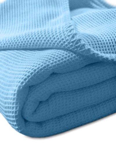 Kneer 9152236 La cialda pique-Coperta Matrimoniale con cuciture Diva outdoor bordo 220/240 cm, Blu