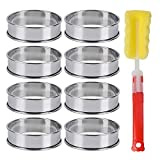 8 Pack Double Rolled Muffin Tart Rings Stainless Steel English Muffin Metal Round Cake Ring (3.15'')