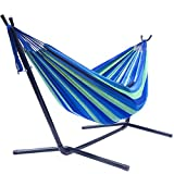 Sorbus Double Hammock with Steel Stand Two Person Adjustable Hammock Bed - Storage Carrying Case Included (Blue/Green) (Lawn & Patio)