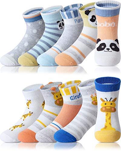 Adorel Calzini Corti Cotone Bambini e Ragazzi 10 Paia Calzini Estivi (Panda e Giraffa) 21-23 (Dimensioni del produttore S)