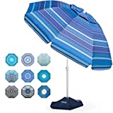 Beach Umbrella - 6.5ft Heavy Duty Windproof Tilt Portable Umbrella with Sand Anchor & Sand Bags UPF 50+ PU Coating with Carry Bag for Patio and Outdoor - Dark Blue Striped