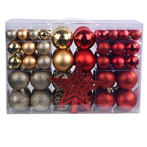YILEEY Adornos de Navidad Decoracion Arboles de Navidad Bolas de Plastico, Dorado y Rojo, 101 Piezas en 9 Tipos, Caja de Bolas de Navidad de Plástico Inastillable con Percha, Adornos Decorativos