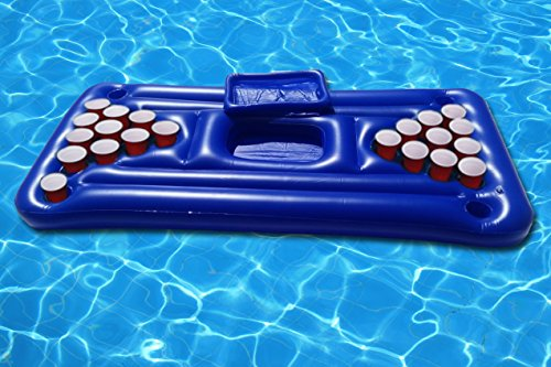 FloatGoat Inflatable Beer Pong Table. Pool Pong Lounger with...