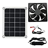 Solar Powered Fan Mini Ventilator 10W 12V Solar Exhaust Fan for Phone Dog Chicken Coop House Greenhouse RV Roof Quietly Cools and Ventilates