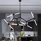 Sputnik Chandelier 10-Lights with Frosted Glass Lampshade, Pendant Lighting Fixture, Matte Black & Industrial Retro Style, for Dining Room, Living Room, Kitchen Island, Hotel, Farmhouse
