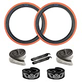 SE Bikes Cub OEM BMX Durable Wire Bead Replacement Dirt Street Bike Tire Tube Rim Strip Lever Kit Bundle (Orange Black, 20)