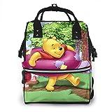 Mochila para pañales – Winnie The Pooh y Piglet Multifunción Impermeable Mochila de viaje Mochila de maternidad bebé cambiador bolsas