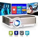 Bluetooth LCD Smart TV Projector Wi-Fi Android Home Entertainment Theater Projectors 5000lm 200' Display Support 1080P Full HD Aiplay HDMI Wireless Mirror Phones, Built-in HiFi Speaker