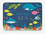 Ambesonne Cartoon Bath Mat, Underwater Graphic Algaes Coral Reefs Turtles Fishes The Life Aquatic, Plush Bathroom Decor Mat with Non Slip Backing, 29.5' X 17.5', Multicolor