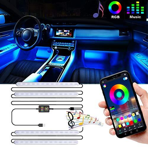 Striscia LED Auto con APP, Luci LED Interne per Auto con 48 LEDs RGB Impermeabile Kit di Illuminazione Auto, Musica sotto il cruscotto Kit di illuminazione, Controllo APP, DC 12V