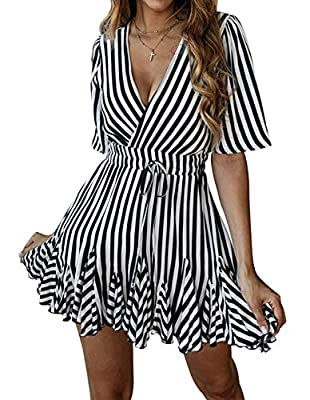 Pull on closure Features: Wrap front, V-neck, Slim elastic bandage waist, Short sleeve, Above knee length, Clear stripe printed, Waist tie belt, A-Line swing, Ruffled hem, Sexy pleated mini dress Swing flowy Summer beach dress, V neck cross wrap fron...