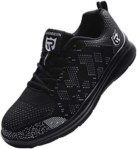 Zapatillas de Seguridad Mujer/Hombre DY-112, Zapatos de Trabajo con Punta de Acero Ultra Liviano Suave y cómodo Transpirable, Negro Blanco, 45 EU