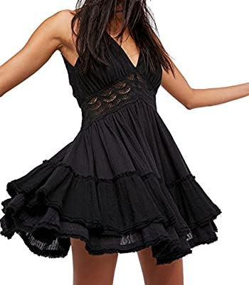Cotton/Polyester Hollow Out, Spaghetti Strap, Lace Splicing, Empire Waist Layered Swing A Line Dress Super Cute, Beautiful bohemian Sexy Mini Dress Please Refer to the Product Description for Detailed Size Information Below Before Ordering Hand Wash ...