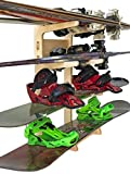 Premium Freestanding Ski Rack   Storage for: Snowboards, Skis, Skateboards, Scooters, Ripsticks, and More (4 Level)