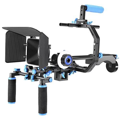 Neewer Film Movie Sistema Kit Video Making System per Canon/Nikon/Sony e Altre Fotocamere Dslr, Include:C-Shaped Staffa + Impugnatura 15.Mm Asta Follow Focus Matte Box + Supporto da Spalla