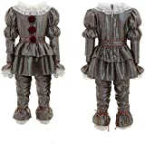 Scary Clown Costume for Kids Cosplay Halloween Costume Outfit Full Set Adults Grey