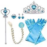Vicloon 8 Pièces Princesse Accessoires pour Costume d'Elsa la Reine des...