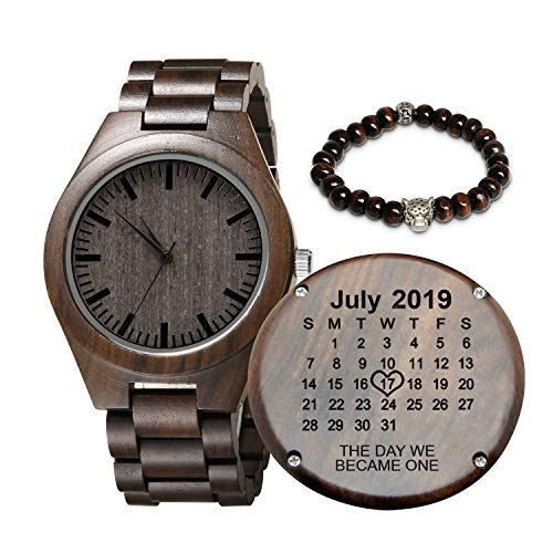 Engraved Customized Wooden Watch for Men,Personalized Wood...