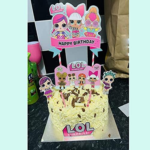 Image 5 - LOL joyeux anniversaire Cake Topper Cupcake Picks Cartoon Gâteau Décoration Enfants Filles Fête D'anniversaire Fournitures 5 pcs