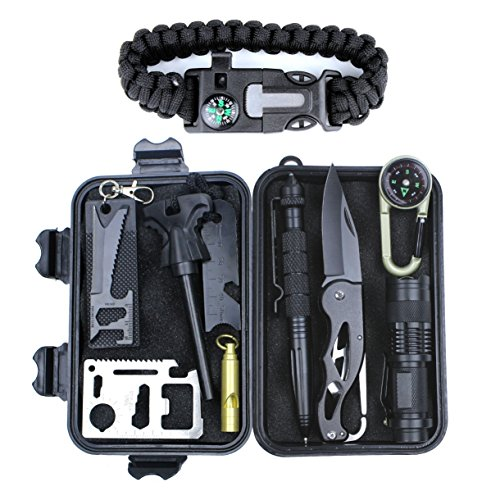 HSYTEK Survival Gear Kit 11 in 1, Professional Outdoor...