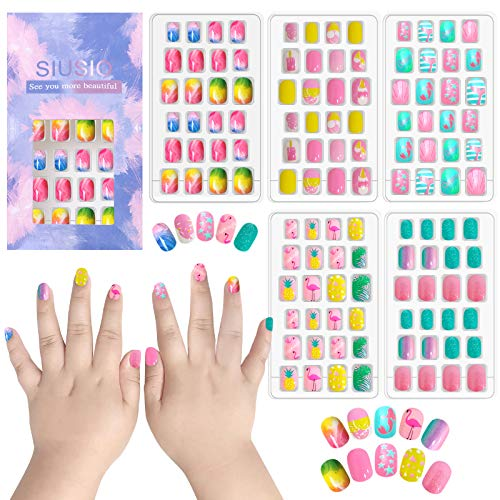 120 pcs 5 pack Children Nails Press on Pre-glue Full Cover Glitter Gradient Color Rainbow Short False Nail Kits Great Christmas Gift for Little Girls (Colorful Rainbow Series)
