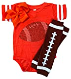 FanGarb Rhinestone Infant Toddler Baby Girls Football Team Color Outfit (24 Months, Solid Orange)