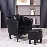 Accent Chair with Ottoman Set Living Room Chair 26' W Faux Leather Barrel Chair Set Club Chair with Footrest Tub Arm Chairs for Bedroom Living Room (Black)
