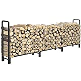 12ft Firewood Rack Outdoor Heavy Duty Log Rack Firewood Storage Rack Holder Steel Tubular Easy Assemble Fire Wood Rack for Patio Deck Adjustable Log Storage Stand for Outdoor Fireplace Tool