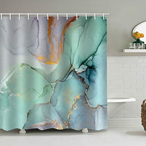 natu2eco Colourful Marble Shower Curtains for Bathroom Sets Fabric...