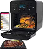 NUWAVE BRIO 15.5-Quart Large Capacity Air Fryer Oven with Digital Touch Screen Controls and Integrated Digital Temperature Probe; 3 Heavy-Duty NEVER-RUST Stainless Steel Mesh Racks Great for Multi-Level Family Meals; Drip Tray; Rotisserie Kit includes Skewers and Basket; 100 Programmed Presets and the Ability to Store and Recall Your Own Programs; 1800 Watts w/ Adjustable Wattage Control - 900, 1500 & 1800; Advanced Functions include PROGRAM, SEAR, STAGE (Brio 15.5QT Air Fryer Oven + Grill)