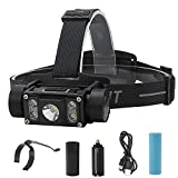 LED Headlamp Flashlight Rechargeable-5 LED 6 Modes 5000 Lumens Head Lamp with Type-C USB Cable, Perfect for Camping Hiking Maintenance Working