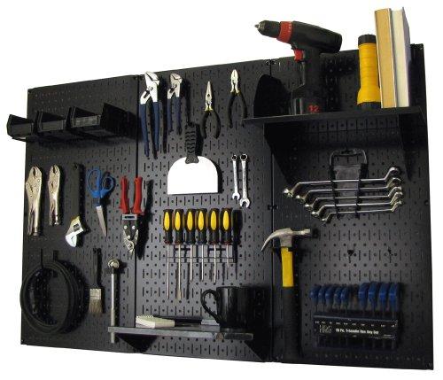 Pegboard Organizer Wall Control 4 ft. Metal Pegboard Standard Tool Storage Kit with Black Toolboard...