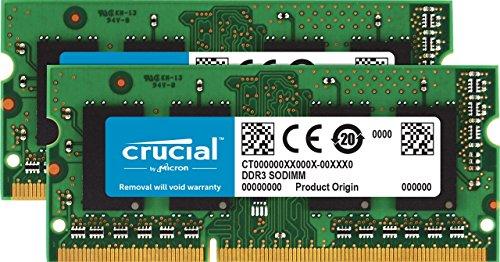 Crucial CT2KIT102464BF160B Kit de memoria RAM de 16 GB (8 GB x 2) (DDR3L, 1600 MT/s,  PC3L-12800, SODIMM, 204-Pin)