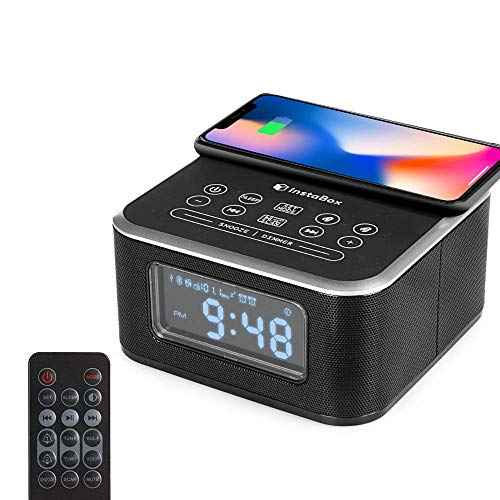 InstaBox W33 Bluetooth Dual Alarm Clock with Wireless Charging, FM Radio, USB Charging Port, Digital Display, AUX-IN, Snooze, Sleep Timer, Battery Backup, 4 Dimmer for Bedroom, Office, Hotel