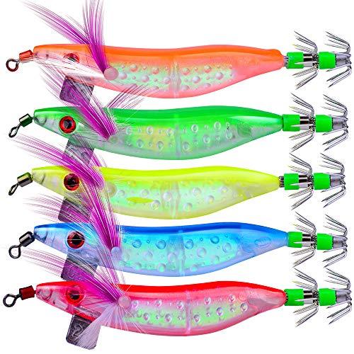 OriGlam, esche luminose da pesca in acqua salata, per calamari, polpo, gamberetti, spigola, esche da pesca per gamberetti, esche morbide per acqua dolce e salata