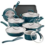 Rachael Ray 12144 Create Delicious Nonstick Cookware Pots and Pans Set, 13 Piece, Teal Shimmer