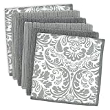 DII Microfiber Multi-Purpose Cleaning Cloths Perfect for Kitchens, Dishes, Car, Dusting, Drying Rags, 12 x 12, Set of 6 - Gray Damask
