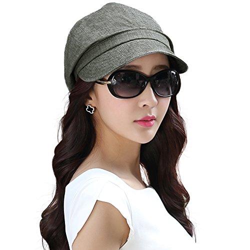 Comhats graue Ballonmütze Maler Mütze Schirmmütze Frauen mit Visor