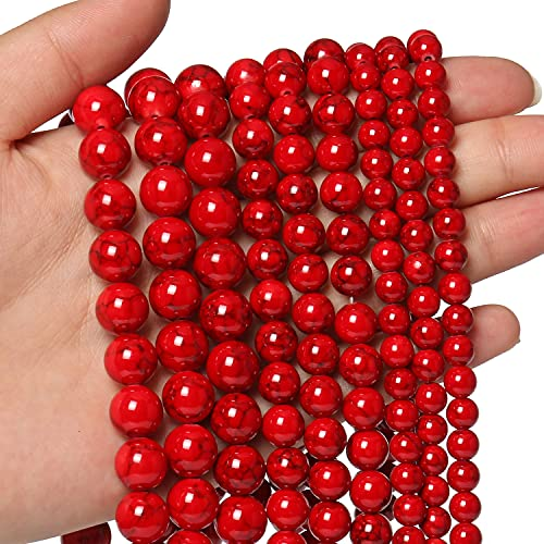 45pcs 8mm Natural Stone Beads Red Turquoise Beads Energy...
