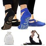 ISUDA Calcetines de Yoga Pilates para Mujer, 2 Pares de Calcetines Pilates Yoga Antideslizantes, con Asas y Correas, para Yoga Pilates, Barra, Ballet, Fitness,Entrenamiento Descalzo(Negro/Azul)
