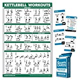 QuickFit 2 Pack - Kettlebell Workout Poster - Laminated 18' x 27' & Bodyweight Exercise Playing Cards - 2.5' x 3.5'