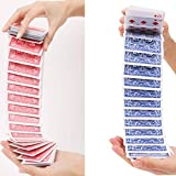 WSNMING 2 Set Electric Deck Acrobatics Waterfall Card Magic Tricks Special Deck Close Up Street Gimmick Illusion Prop with Video Tutorial (Blue + Red)