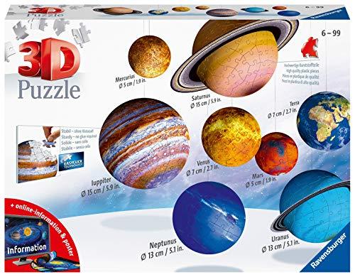 Ravensburger 11668 Il Sistema Planetario 3D Puzzleball, 540 Pezzi, Multicolore, 8 pianeti, Età Raccomandata 6+