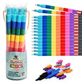 Ratatoys Stacking Crayons, 15 pc Set, Buildable and Stackable for Drawing, Coloring, or Arts and Crafts, Large Preschool Friendly Connect Pieces, Party Favor and Classroom Fun
