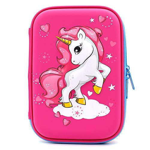 Astuccio rigido con unicorno volante goffrato grande scatola per la scuola con scomparti borsa per...