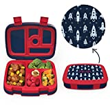 Bentgo Kids Prints (Space Rockets) - Leak-Proof, 5-Compartment Bento-Style Kids Lunch Box - Ideal Portion Sizes for Ages 3 to 7 - BPA-Free and Food-Safe Materials